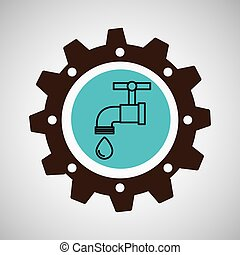 symbol environment gear tap water vector illustration eps 10