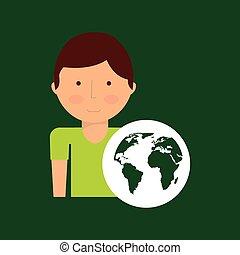 environment icon boy with green globe