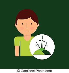 boy cartoon save earth icon eco energy