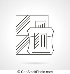 Cologne sale flat line vector icon - Abstract box and...