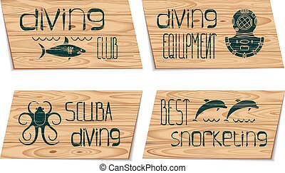 Set design logo scuba diving and snorkeling
