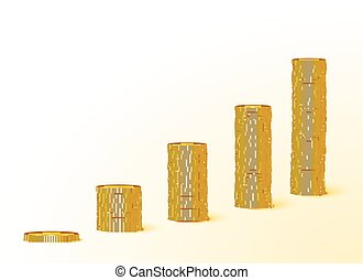 Rising chart of gold coins. Vector illustration.
