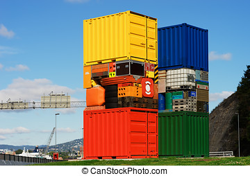 Norway colorful transport crates background hd