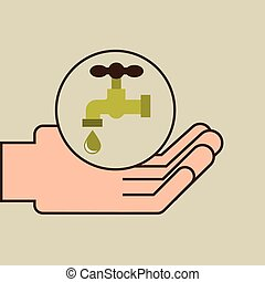 hands care environment tap water vector illustration eps 10