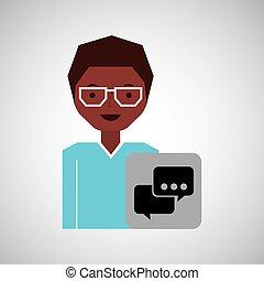 girl afro bubble speech icon