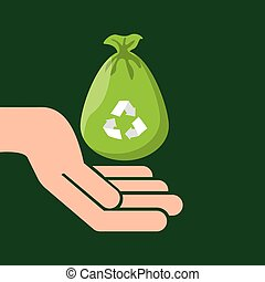 plastic bag recycled hand hold icon vector illustration eps...