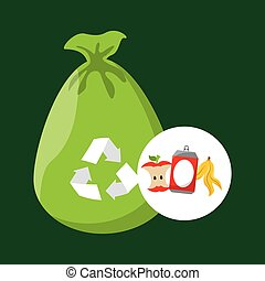 concept recycling process trash icond design vector...