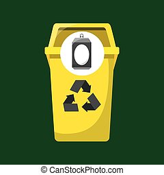 trash yellow can icon recycle