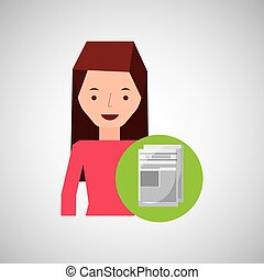 girl cartoon recycle icon paper