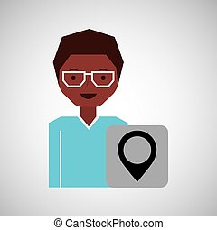 cartoon girl with pin map icon