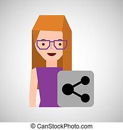 girl cartoon share icon design vector illustration eps 10