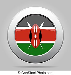 Flag of Kenya. Shiny metal gray round button. - National...