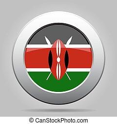 Flag of Kenya. Shiny metal gray round button. - National...