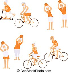 Elderly people doing exercises in different poses. Healthy...
