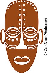 African Ethnic Tribal mask on white background. Flat icons....