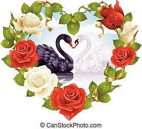 Red and white Rose frame in the shape of heart and couple...