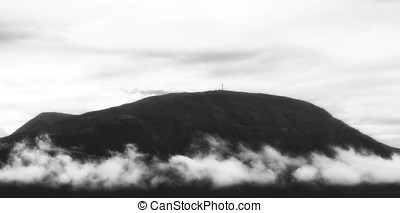 Horizontal black and white mountain landscape with...