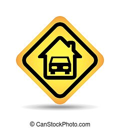 traffic sign concept icon car home vector illustration eps...