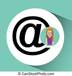 girl with glasses mail sign design vector illustration eps...