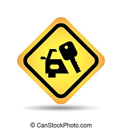 traffic sign concept icon car key