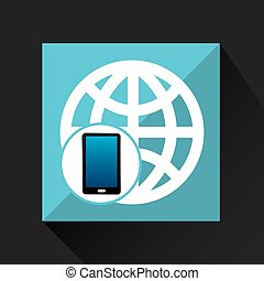 smartphone global social network media icon