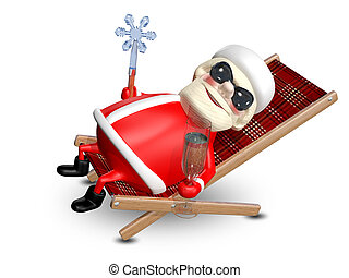 3D Illustration of Santa Claus in a Deckchair - 3D...