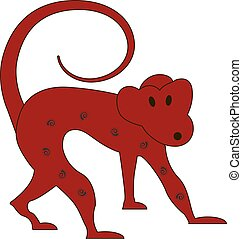 Chinese zodiac symbol red monkey made by traditional Chinese...