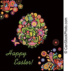 Easter card with decorative egg and floral print