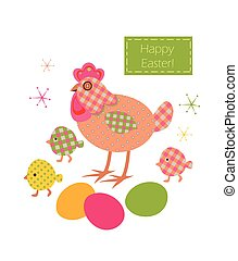 Funny easter applique with checkered pattern