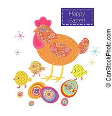 Funny easter applique with hen, coloured eggs and little...