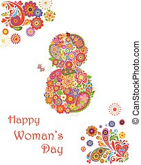 Greeting card with flowers decorative print for Womans Day