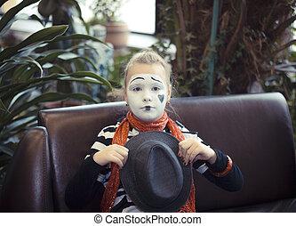 m�dchen,  balloon, Pantomime, Schauspieler,  form