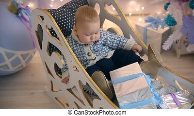 Little boy sleigh Christmas gift