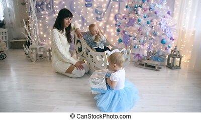 Mom little boy and girl christmas
