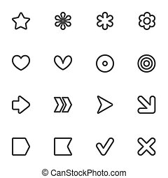 Simple common vector contour style icon set