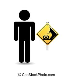 silhouette man road sign caution