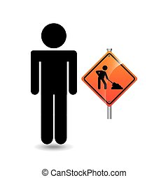 road sign under construction silhouette man vector...