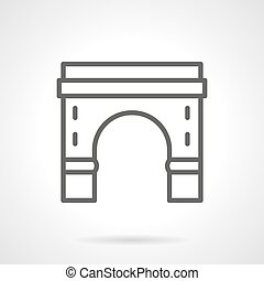 Round arch with pillars black line vector icon