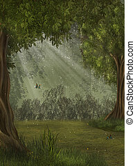 fantasy forest with butterfly 3D rendering