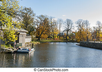 City moat in autumn Gothenburg Sweden