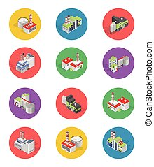 Isometric Building Factory Icons with Shadow - Vector Set