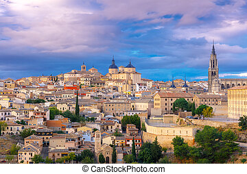 Cathedral of Toledo, Castilla La Mancha, Spain - Old city of...