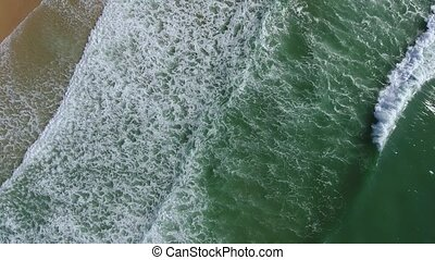 Aerial. Magical sea wave motion. Filmed from the sky. Portugal