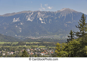 Bled with The Karawanks mountain range in Slovenia, Upper...