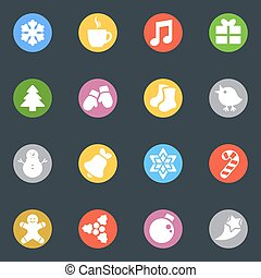 Winter vector stickers icon in the circle set