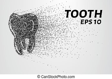 The tooth of the particles. The tooth crumbles into small...