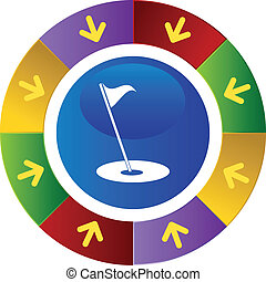 Golf Flag - Golf flag web button isolated on a background