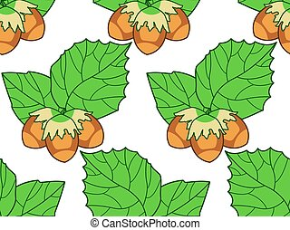 Hazel leaf and nuts pattern.eps - Seamless pattern of the...