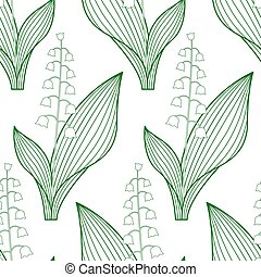 Lily of the valley contour pattern.eps - Seamless pattern of...