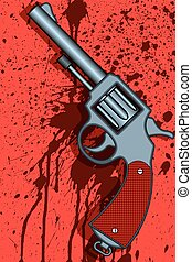 Revolver - Illustration of the revolver on abstract bloody...